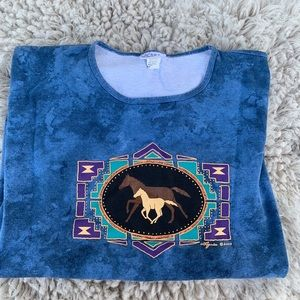 Vintage horse crop  tee shirt dye tee cactus Bay